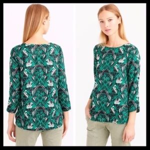 j. crew // retro floral print green blouse top